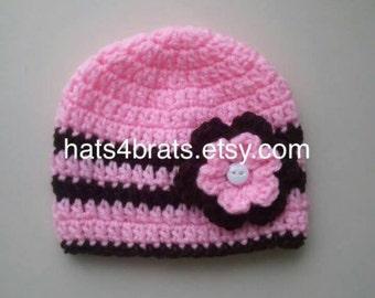 Baby Girl Crochet Hat, Girls Pink and Brown Hat, Newborn Hat, Infant Crochet Hat, Baby Shower Gift, Newborn Photo Prop