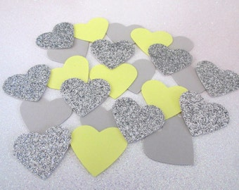225 Yellow Gray Silver Heart Confetti Yellow Gray Wedding Yellow Gray Shower Yellow Gray Confetti Yellow Gray Sprinkle Yellow Gray Birthday