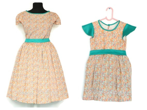 1950s Sewing Patterns | Swing and Wiggle Dresses, Skirts Matching Mom and Daughter Lines Dresses/Matching Outfits/Mommy and baby dresses/Mother daughter matching dresses/Mommy and me clothing  AT vintagedancer.com