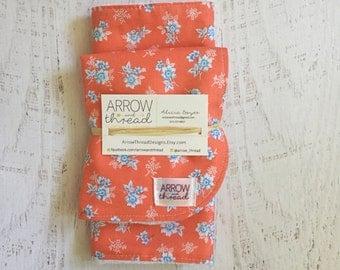 Bib & Burp Cloth Gift Set - Baby Girl Bibs - Burp Cloths - Floral - Flowers - Coral and Blue - Girl Bib - Girl Burp Cloth - Burp Rag