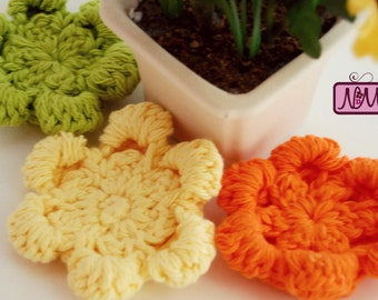 Crochet Face Scrubbies, Flower Scrubbies, Reusable Make Up Pads, Facial Pads, Makeup Remover Pads, Eco Friendly, Green, Orange, Yellow, Gift