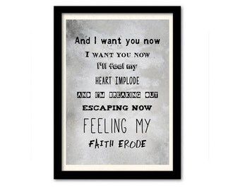 Muse Poster - Hysteria #3 Song Lyric Print. A3 Typography Wall Art