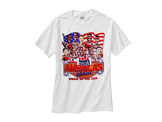 Dream team cartoon caricature jordan retro magic bird barkley for 92 dream team t shirt