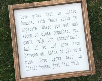 Love Grows Best In Little Houses // Love Grows Best // Farmhouse Sign // Housewarming Gift // Rustic // Home Sweet Home // Painted Wood Sign