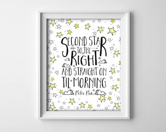 "INSTANT DOWNLOAD 8X10"" printable digital art - Second star to the right - Peter Pan quote - Black,white,yellow stars - Nursery - Typography"