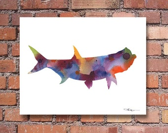 Tarpon Fish Art Print - Abstract Watercolor Painting - Wall Decor