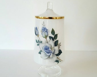 Vintage White Apothecary Pedestal Jar with Blue Roses and Gold Trim