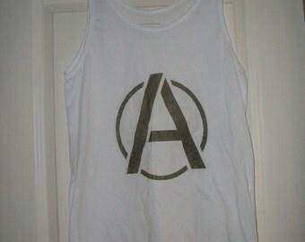 Anarchy punk rock white size uk 10 womens top t shirt Ready to Dispatch