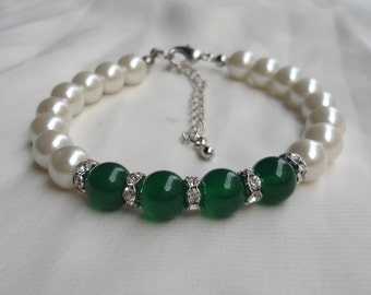 Ivory Pearl Bracelet,pearl And Rhinestone Bracelet,8mm pearl Bracelet,Wedding Jewelry,Pearl Jewelry,Bridesmaid Bracelet