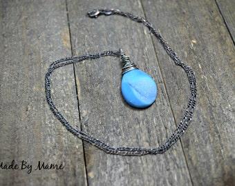 Rustic Druzy Pendant Necklace, Blue Agate Drusy Stone, Sterling Silver, Bohemian Jewelry, Gypsy, Shabby Chic, Baby Blue, Dark, Minimalist