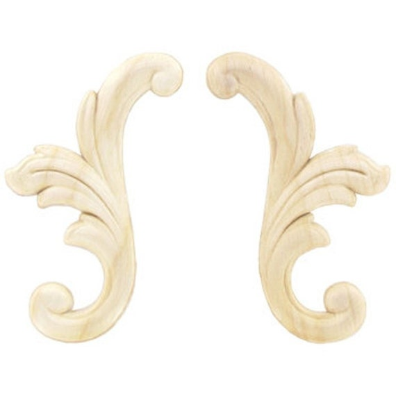 Small scroll wood appliques decorative wood wood crafts 2 pc for Decorative wood onlays