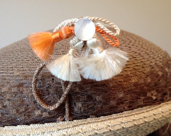 Vintage 1940s Straw Hat with Netting Trim and Saucy Tassel Detail