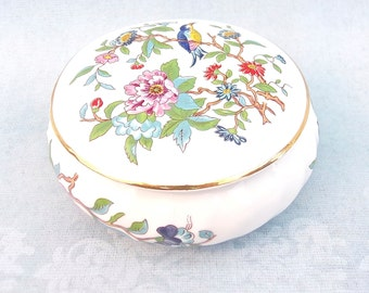 Aynsley Bone China Trinket, Jewellery Box - Pembroke Design - Small Vintage Trinket Box - Made in England - Porcelain
