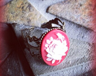 Victorian Antique Bronze White Rose and Red Cameo Adjustable Ring