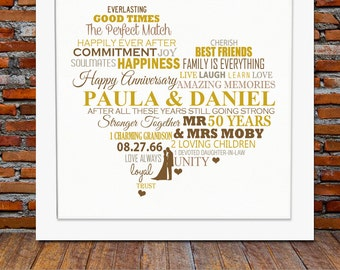 Personalized 50th Anniversary gift - Golden wedding anniversary gift, 50th wedding anniversary, 50th anniversary gift, gifts for parents