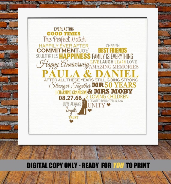 Personalized 50th Anniversary Gift Golden Wedding