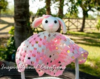 Crochet Baby Security Blanket, Crochet Bunny Baby Security Blanket, Pink and White Baby Blanket, Baby Blanket, Baby Security Blanket, Bunny