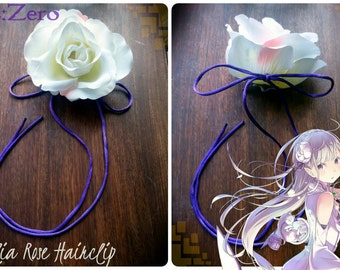 RE Zero Emilia Cosplay Rose Hairclip