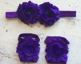 Baby headband and Barefoot sandals; baby barefoot sandals; purple sandal; toddler barefoot sandal; sandal