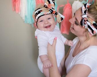 Headband; Headwrap; Rosie Wrap-headwrap; floral black and white headwrap; fabric head wrap; newborn headband; baby headband; toddler headban