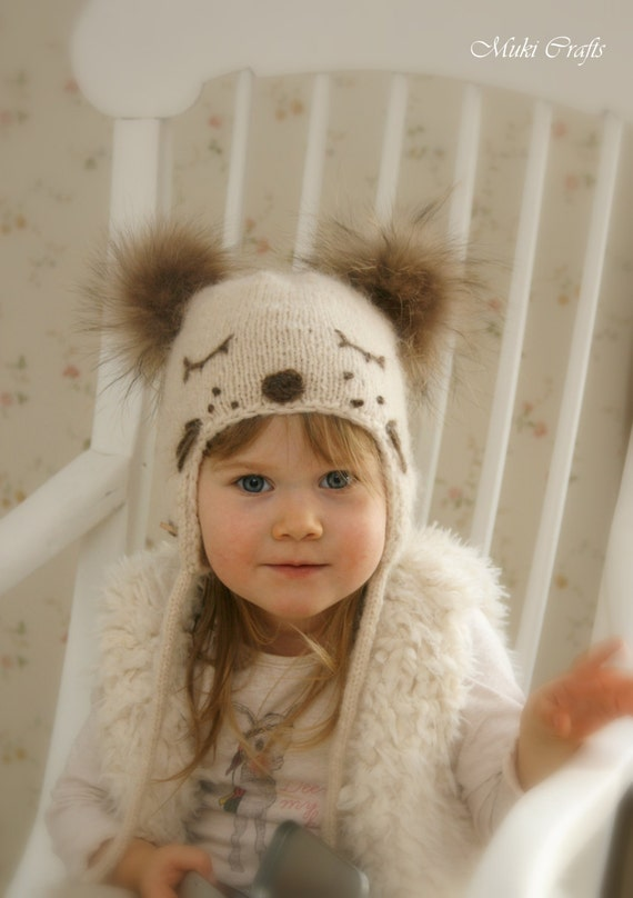 KNITTING PATTERN for kids ear flap hat Snow Dog with pom-poms (baby, toddler,...