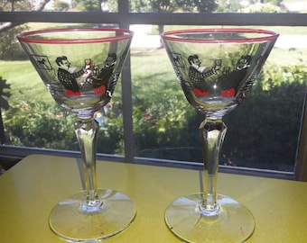 "Vintage 1950s Libbey Red Rimmed Set of TWO ""Pickwick"" Cordial Glasses"