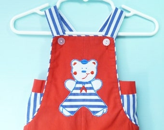 Vintage Baby Boys Red Patriotic Bear Romper   Size  6-9 Months    Summer/ July 4th