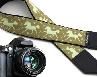 Horses camera strap. DSLR / SLR Camera accessories. Great gift.