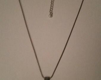 Vintage Silver Cross Pendant Necklace Costume Jewelry