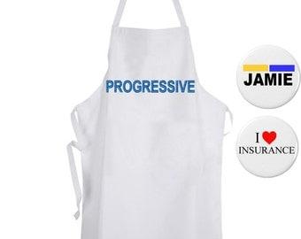 Jamie Sidekick Hype Man Flo 3pc Halloween Costume Progressive Insurance Apron ADULT NEW Funny Humor Commercial Name Badge Tag Pin Pinback