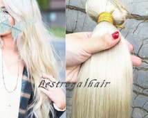 14 Inches Straight White Blonde Hair Extension, 18 Clips Indian Remy Clips in Hair Extensions RHS013