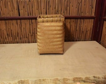 Vintage Chinese Bamboo Basket Square Openning