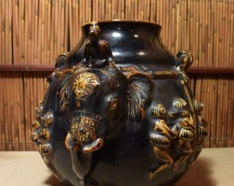 Southeast Asian Black Pottery Jar Vase