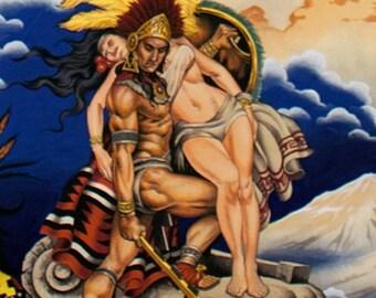 Alexander Henry Aztec Blue Legend cotton fabric