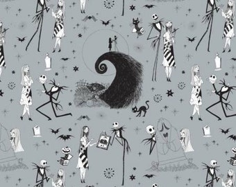 Nightmare Before Christmas, Jack and Sally on Stone Gray cotton fabric by Camelot Fabrics