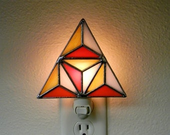 Geometric Stained Glass Nightlight in Orange, Yellow, and White - Ready to Ship