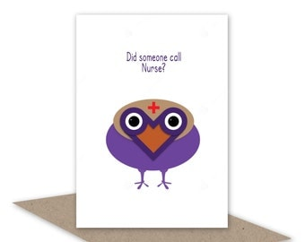 Funny get well soon card, cute sympathy card, nurse greeting card, gender neutral, bird card, personalised message option
