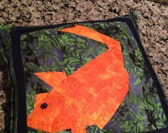 Beautiful Batik Pillow with Koi Fish