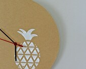 Clock with hand screen printed pineapple
