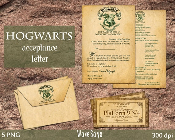 Hogwarts Acceptance Letter Harry Potter World 5 Pieces