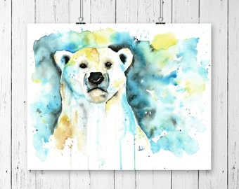 POLAR BEAR 2 PRINT, Polar Bear Print, Polar Bear, Watercolour, Manitoba Art, Arctic Wildlife, Bear art, bear print, bear watercolour