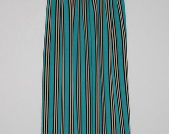 Vintage Striped Maxi Skirt, Teal, Black and Gold, Small/medium, skirt with pockets, size 10, Halston III