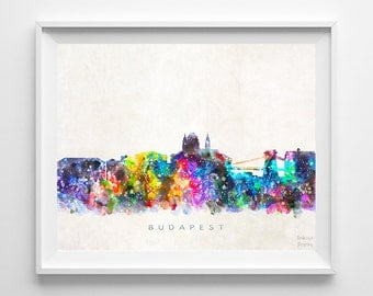 Budapest Skyline Print, Hungary Poster, Watercolor Painting, Wall Decor, Hungarian Art, Cityscape, City Painting, Back To School