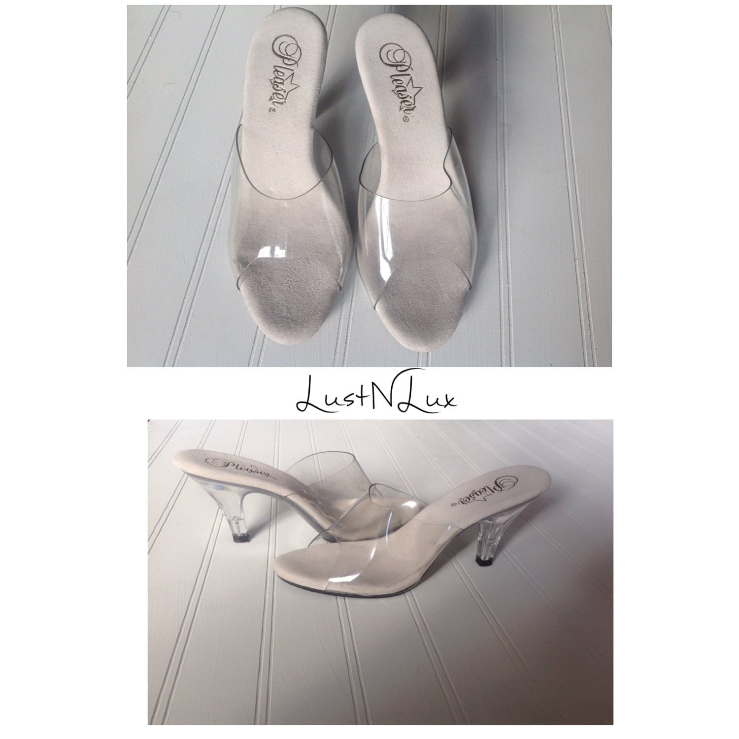 6 clear high heel shoes plastic and lucite by pleaser