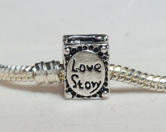 Book Charm Spacer -Love Story Book /Novel Love  charm - Fits all Designer and European Charm Bracelets