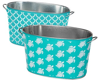 Beverage Tub with Neoprene Cover ~ Drink Cooler - Personalized, Monogrammed ~ Reversible ~ Crab ~ Turtles - Seahorse - Nautical ~ Galvanized