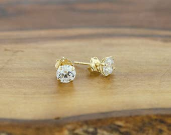 14KT Round CZ Studs Earrings, Butterfly Back, Pushback