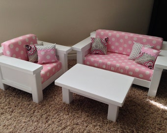 """American Girl Furniture. 3 pc Living room set: Couch, Chair & Coffee Table for 18"""" doll. Pink polka dot"""