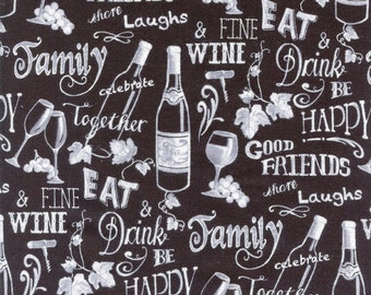 Wine Chalkboard Timeless Treasures Cotton Fabric C4304 Black, By the Yard