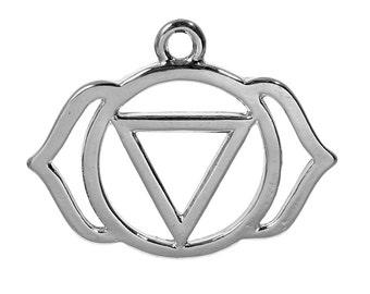 1 Silver Tone Chakra Pendant - Agnya /Ajna (Third Eye Chakra) 2.9cm
